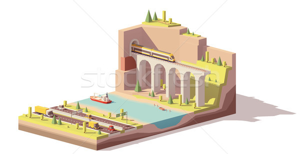 Vector low poly highway near river and railroad Stock photo © tele52