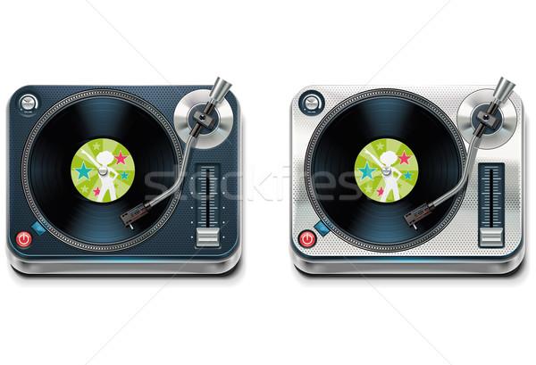 Vektor lemezjátszó xxl ikon részletes ikon bakelit Stock fotó © tele52