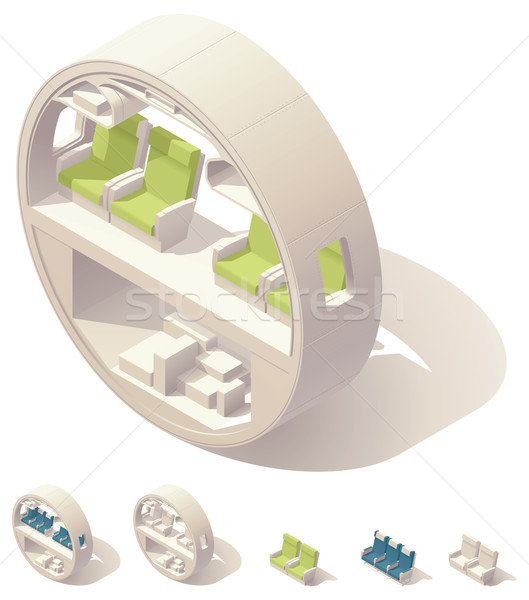 Isometric aircraft cabin cross-section Stock photo © tele52