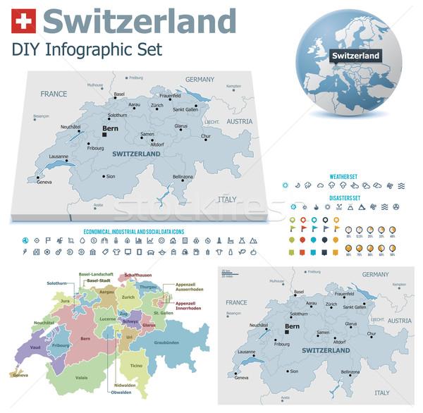 İsviçre haritaları ayarlamak siyasi semboller Stok fotoğraf © tele52
