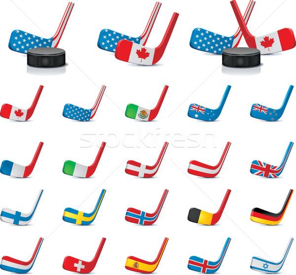 Jégkorong vidék zászlók ikonok szett részletes Stock fotó © tele52