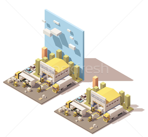 Stock photo: Vector isometric warehouse building icon with trucks loaded by forklifts