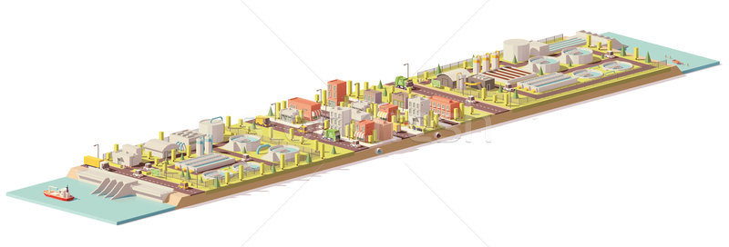 Stock photo: Vector low poly water treatment and consumption