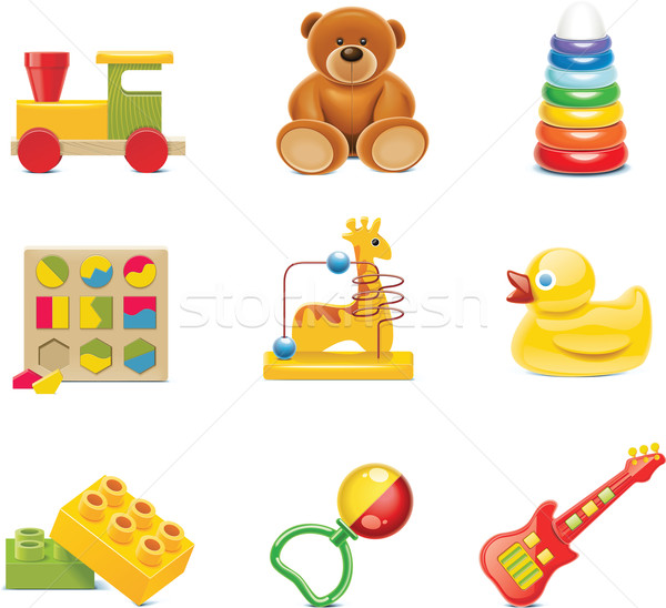 Vector toy icons. Baby toys Stock photo © tele52