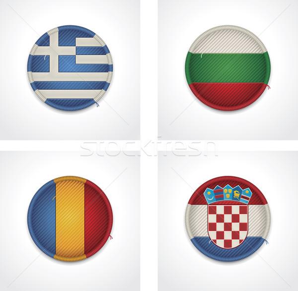 Vecteur drapeaux pays tissu badges Photo stock © tele52