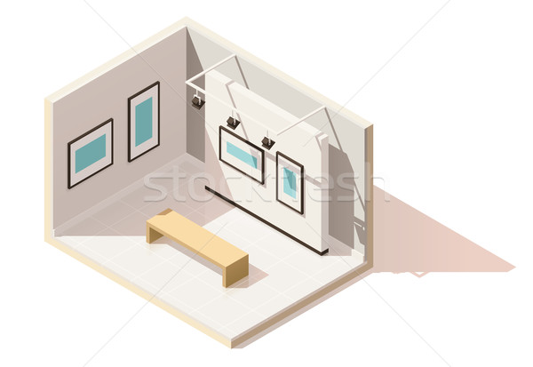 Vector isometrische laag museum interieur kunstgalerie Stockfoto © tele52