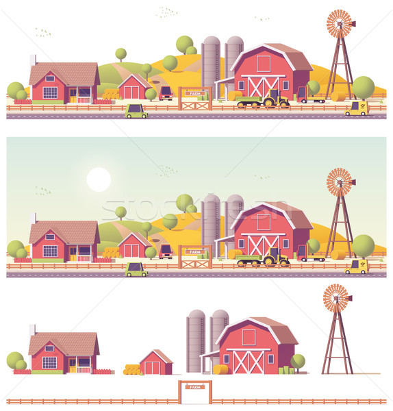 Vector low poly farm Stock photo © tele52