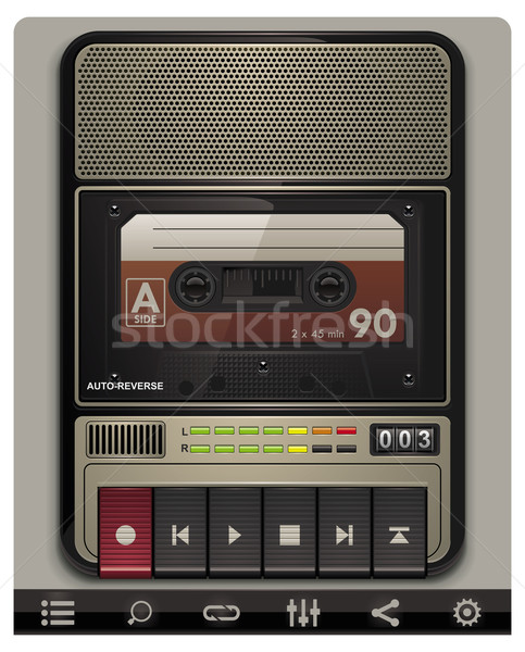 Vector cassette recorder template with icons Stock photo © tele52