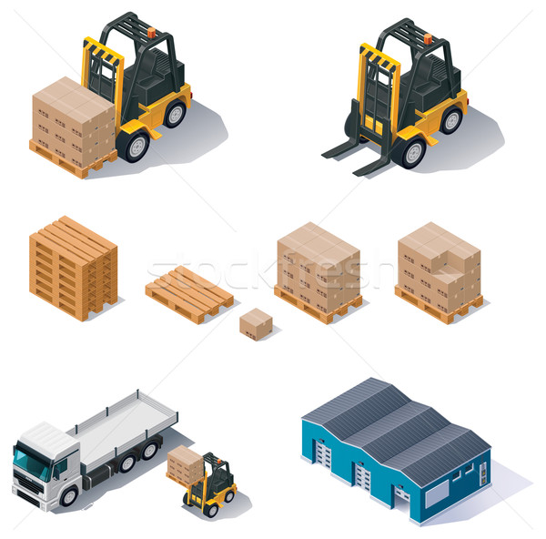 Vector warehouse equipment icon set Stock photo © tele52