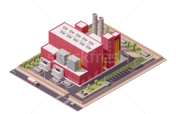 Vektor izometrikus gyár épületek ikon ikon gyűjtemény Stock fotó © tele52