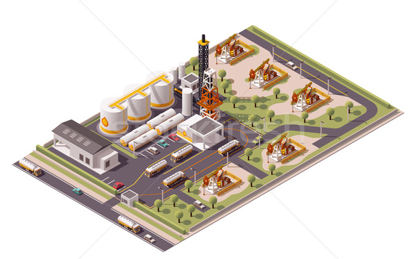 Vector isometric oil field icon Stock photo © tele52