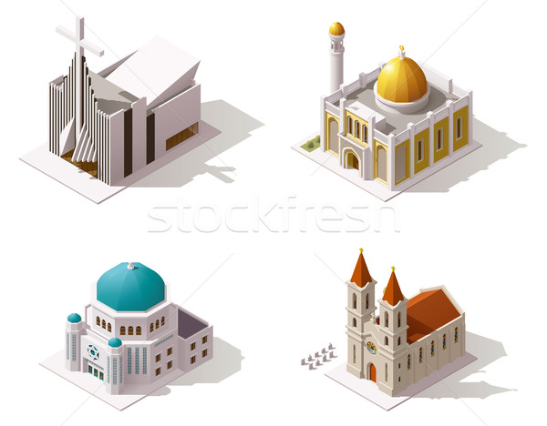 Vector isometric places of worship Stock photo © tele52