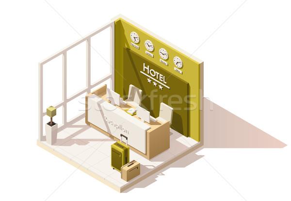 Vektör izometrik düşük otel resepsiyon ikon Stok fotoğraf © tele52