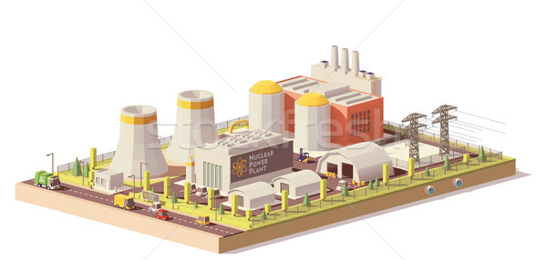 Vector low poly nuclear power plant Stock photo © tele52