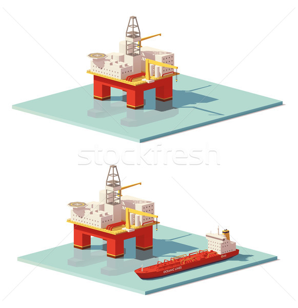 Vector low poly offshore oil rig drilling platform Stock photo © tele52