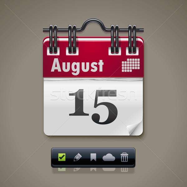 вектора календаря xxl значок подробный икона бумаги Сток-фото © tele52