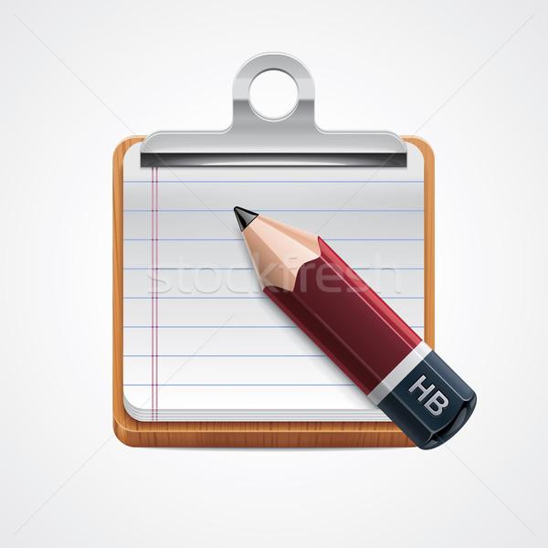 Сток-фото: вектора · буфер · обмена · карандашом · икона · подробный · красный