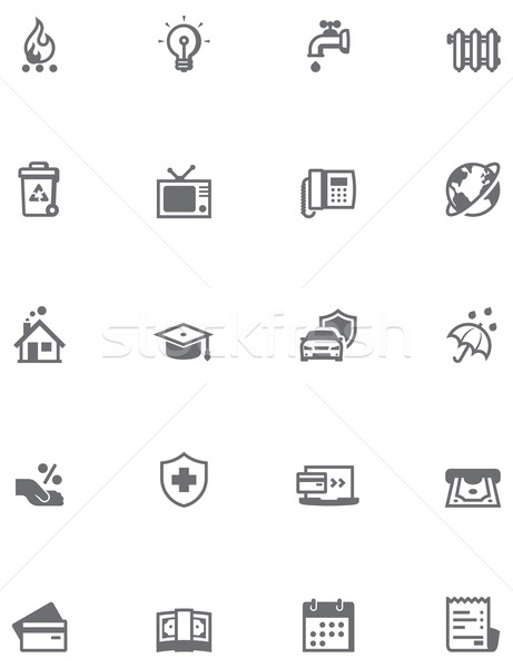 Stock photo: Paying bills icon set