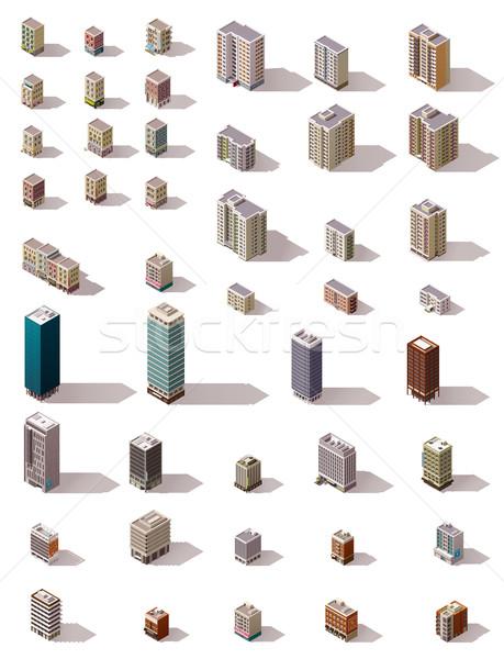 Stok fotoğraf: Vektör · izometrik · binalar · ayarlamak · büyük · kasaba