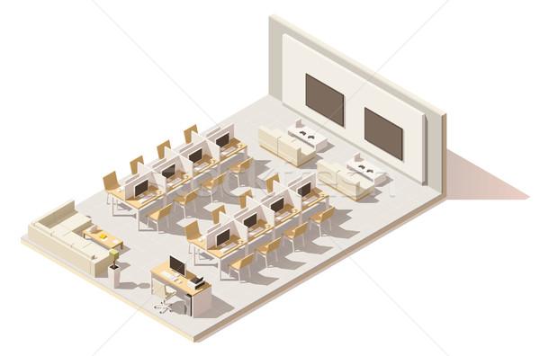 Vektor izometrikus alacsony internet kávézó LAN Stock fotó © tele52
