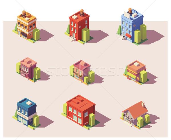Stockfoto: Vector · laag · isometrische · gebouwen · ingesteld · stad