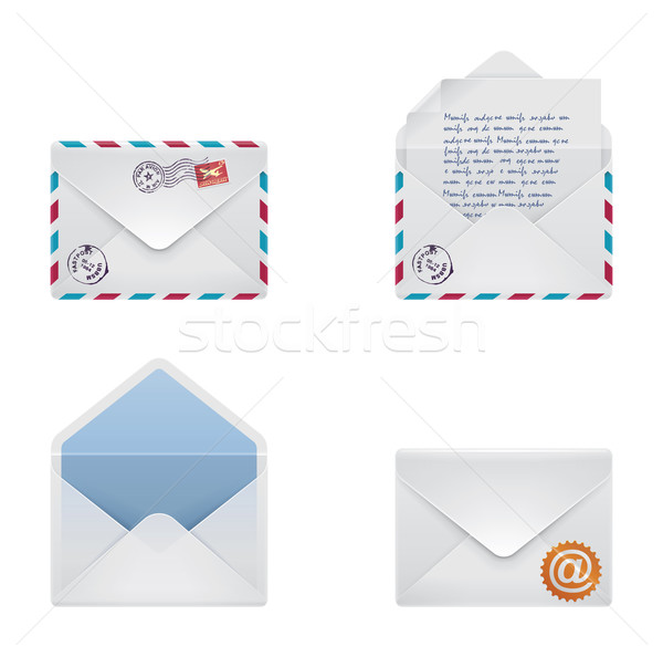 Vector envelope icon set Stock photo © tele52