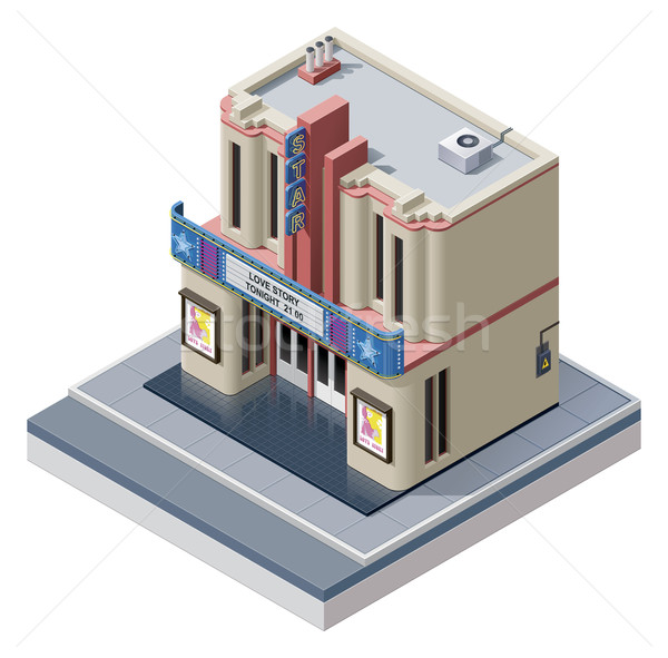 Vector isometric cinema building Stock photo © tele52