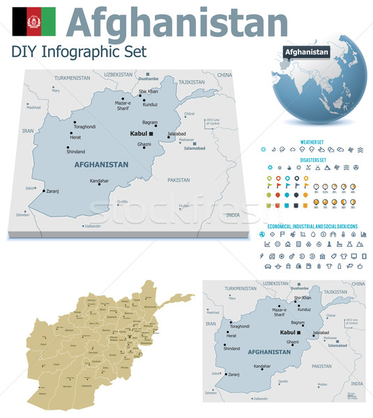 Afghanistan  maps with markers Stock photo © tele52