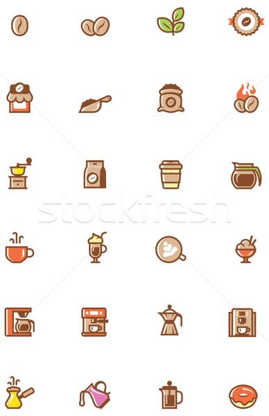 Coffee icon set Stock photo © tele52