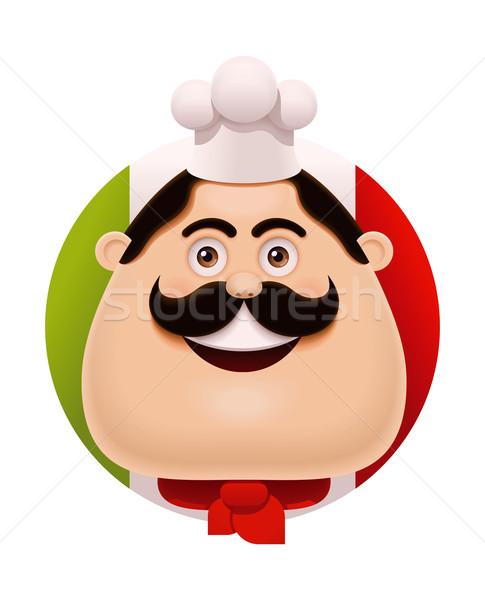 Vecteur italien chef moustache icône restaurant Photo stock © tele52