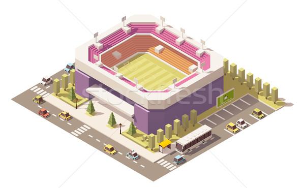 ストックフォト: ベクトル · アイソメトリック · 低い · サッカー · スタジアム · サッカー