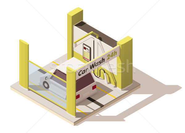 Vector isometric low poly car wash icon Stock photo © tele52