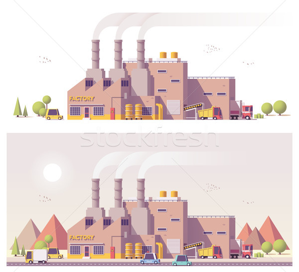 Vector low poly 2d factory Stock photo © tele52