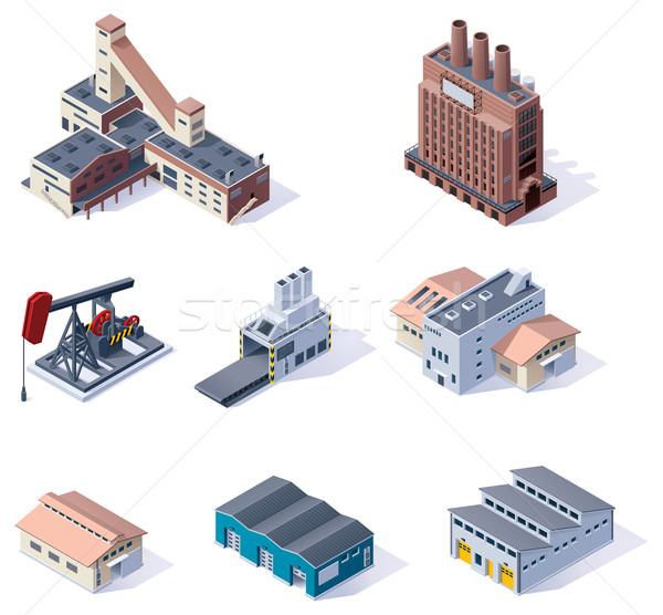 Vector isometric buildings. Industrial  Stock photo © tele52