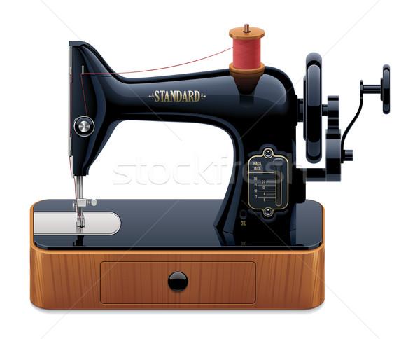 Wektora retro maszyny do szycia szczegółowy ikona starych Zdjęcia stock © tele52