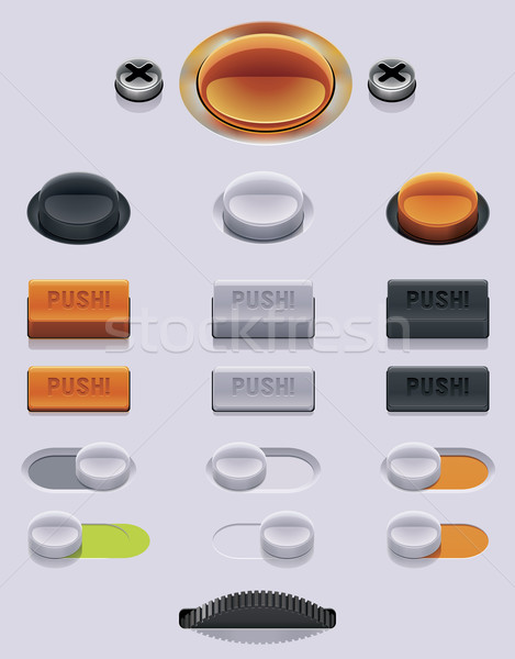 ストックフォト: ベクトル · ui · セット · 詳しい · 技術 · 金属