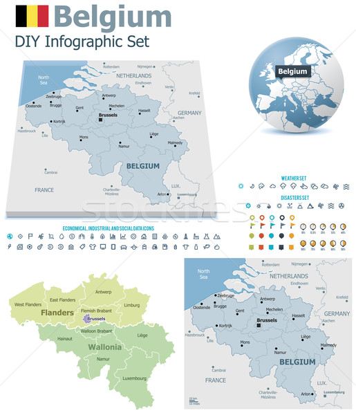 Stock photo: Belgium maps with markers