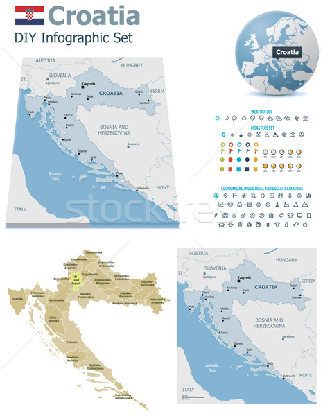 Croatia maps with markers Stock photo © tele52
