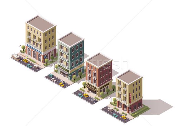 Сток-фото: вектора · изометрический · зданий · набор · города · дома