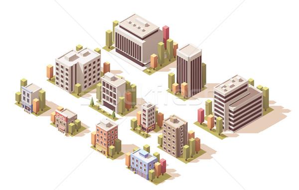 Vektor izometrikus épületek szett különböző iroda Stock fotó © tele52