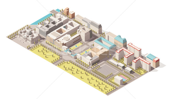 Vector Isometric infographic element representing low poly map of Berlin, Germany. Includes Reichsta Stock photo © tele52