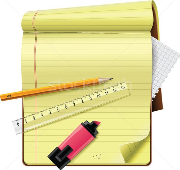 Stok fotoğraf: Vektör · notepad · xxl · ayrıntılı · ikon · kalem