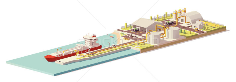 Vector low poly LNG terminal and LNG carrier ship Stock photo © tele52