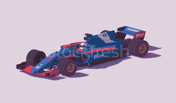 Vecteur faible formule course voiture bleu Photo stock © tele52