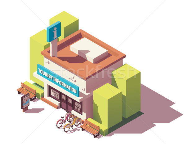 Vecteur isométrique touristiques informations centre visiteur Photo stock © tele52