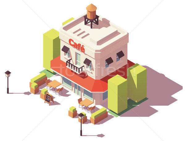 Vector isometric cafe building Stock photo © tele52