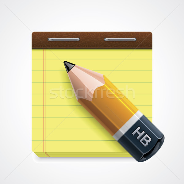 Vector potlood notepad icon gedetailleerd Geel Stockfoto © tele52