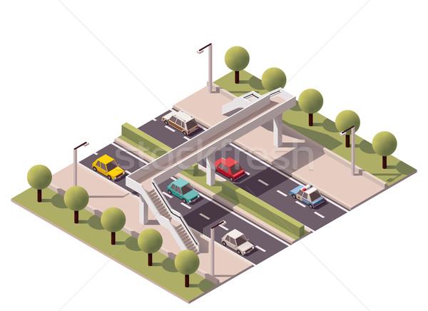 Stockfoto: Vector · isometrische · voetganger · brug · voetbrug · snelweg
