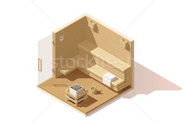 Vektör izometrik düşük sauna oda ikon Stok fotoğraf © tele52