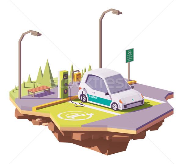 Vector bajo coche eléctrico eléctrica vehículo cable Foto stock © tele52